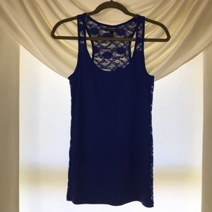 American Eagle Blue Lace Back Tank Top